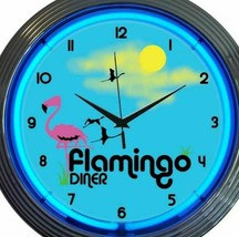 Neon Clock Flamingo Diner 15 Inch Bar Game Room Office Blue Black Yellow... - $63.35