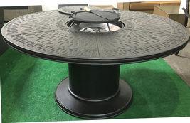 Cast Aluminum 7 Piece Round Propane Firepit Dining Table Grand Tuscany Set image 5