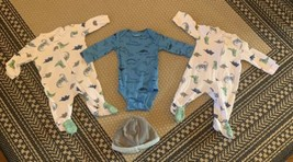 Baby Boy Dinosaur Lot Of 4 Size 3-6 Months Zippered Footed Pajamas  - $15.88