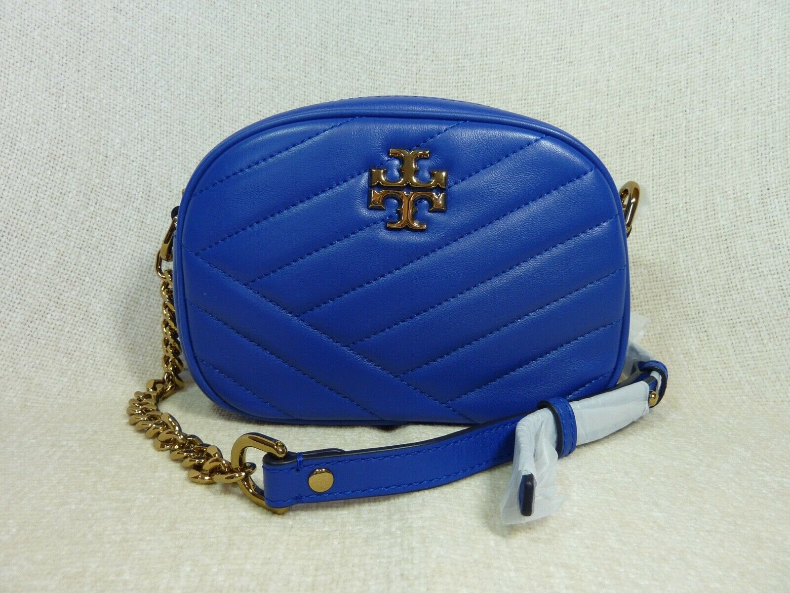 NWT Tory Burch Nautical Blue Kira Chevron Small Camera Bag $358