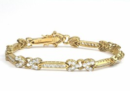 VINTAGE CRYSTALS INLAY X STYLE GOLDEN HUE TENNIS BRACELET 925 STERLING B... - $38.01