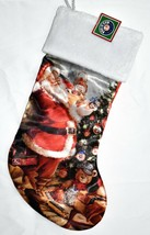 "Kurt Adler Lionel Trains Santa Clause 19"" Christmas Stocking w Fuzzy Plush Cuff image 2"