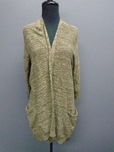 SPARROW Green White Specked Cotton Blend Open Front Cardigan Sweater Sz ... - $29.69