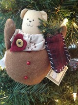 Russ Berrie Christmas Ornament Teddy Bear Plush Holding Stocking NWT - $11.88