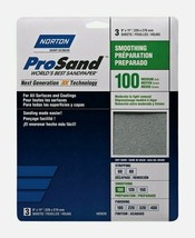 Norton ProSand SANDPAPER SHEETS 3 ct Stripping 100 Grit Medium Smoothing... - $8.99