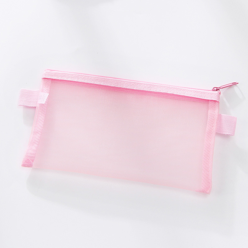 Clear Exam Large Pencil Case Pink