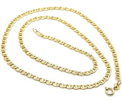 18K YELLOW GOLD CHAIN FLAT NAVY MARINER WORKED LINK 3.5 MM, 20 INCHES ITALY MADE image 1