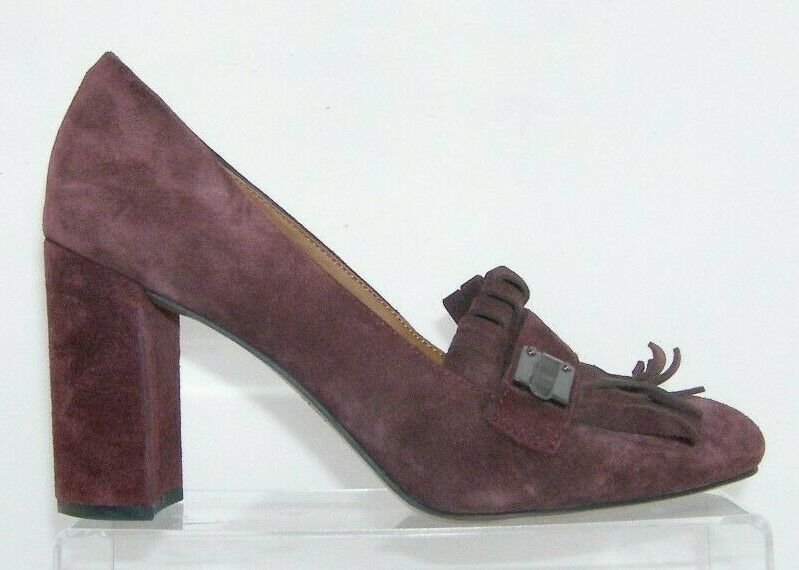 Franco Sarto 'Ainsley' purple suede buckle kiltie slip on block heels 7.5M image 2