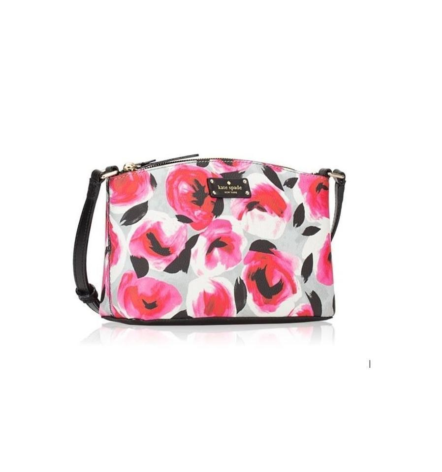 a10ab577 S l1600. S l1600. Previous. Kate Spade Millie Grove Street Leather  Crossbody In Printed Rose Bed NWT