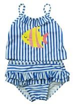 FIRST IMPRESSIONS INFANT GIRLS 2PC STRIPED TANKINI BLUE SWIMSUIT UPF 50 12M - $14.84