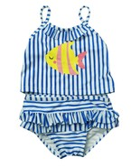 FIRST IMPRESSIONS INFANT GIRLS 2PC STRIPED TANKINI BLUE SWIMSUIT UPF 50 12M - $14.84