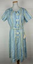 Vintage 1960s NOS Dianne Dunbar Blue Vertical Stripe Dress Kodel 20 - $44.55
