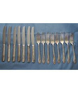 QUEEN BESS 11 SILVER TUDOR PLATE 1946 BY ONEIDA INCLUDES 7 KNIVES 8 FORK... - $19.99