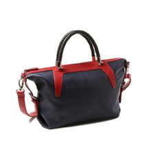 Amrita Singh Colorblock Faux Leather Woven Handle Large Satchel Shoulder Bag NWT - $44.06