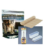 Raw Organic Nori Sheets 50qty + Sushi Rolling Mat + Mold unToasted Makis... - $25.73