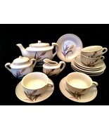 Vintage Child or Doll Tea Coffee Set Wheat Pattern 17 Pieces Red Letter ... - $31.68