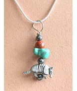 Judy Strobel Pewter Armadillo,Turquoise, Red Jasper & Hematite Pendant ... - $19.95