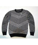 21 Men Crew Neck Men's Sweater Black White Long Sleeve Sz XS - $26.52