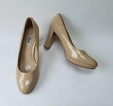Clarks Womens Shoes Pumps Patent Leather Platform Beige Size US 9 W EU 40 - $44.50