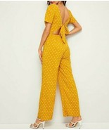 Button Front Deep V Neck Polka-Dot Print Tie Back Backless Maxi Jumpsuit... - $44.99