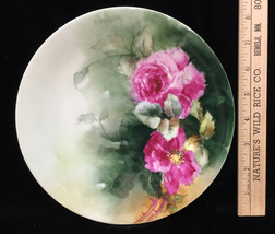 """Plate JPL Limoges Porcelain Pink Rose 8"""" Vintage France Hand Painted Floral - $16.82"""
