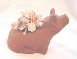 Ceramic Terracotta Colored Pig Vase Sea Shell Flowers - $14.99