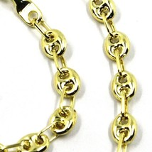 9K GOLD BRACELET NAUTICAL MARINER OVALS 4 MM THICKNESS, 21 CM, 8.3 INCHES image 2