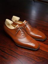 Handmade Men's Wing Tip Heart Medallion Dress/Formal Leather Oxford Shoes image 4