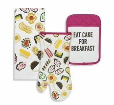 "KATE SPADE ""EAT CAKE FOR BREAKFAST"" 3pc KITCHEN SET,TOWEL,POT HOLDER,GLO... - $26.50"