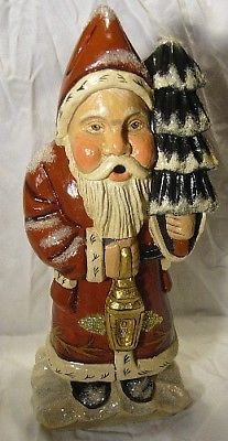 Vaillancourt Folk Art Woodland Santa w/ Gold Lantern Personally Signed by Judi!