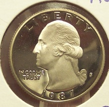 1987-S Deep Cameo Proof Washington Quarter #0929 - $3.39