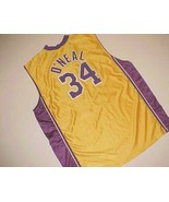 Los Angeles Lakers Shaquille O'Neal #34 NBA Champion Yellow Purple Jerse... - $197.99