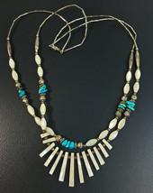Vintage Silver Tone Metal Double Strand hardstone Choker Necklace - $21.29