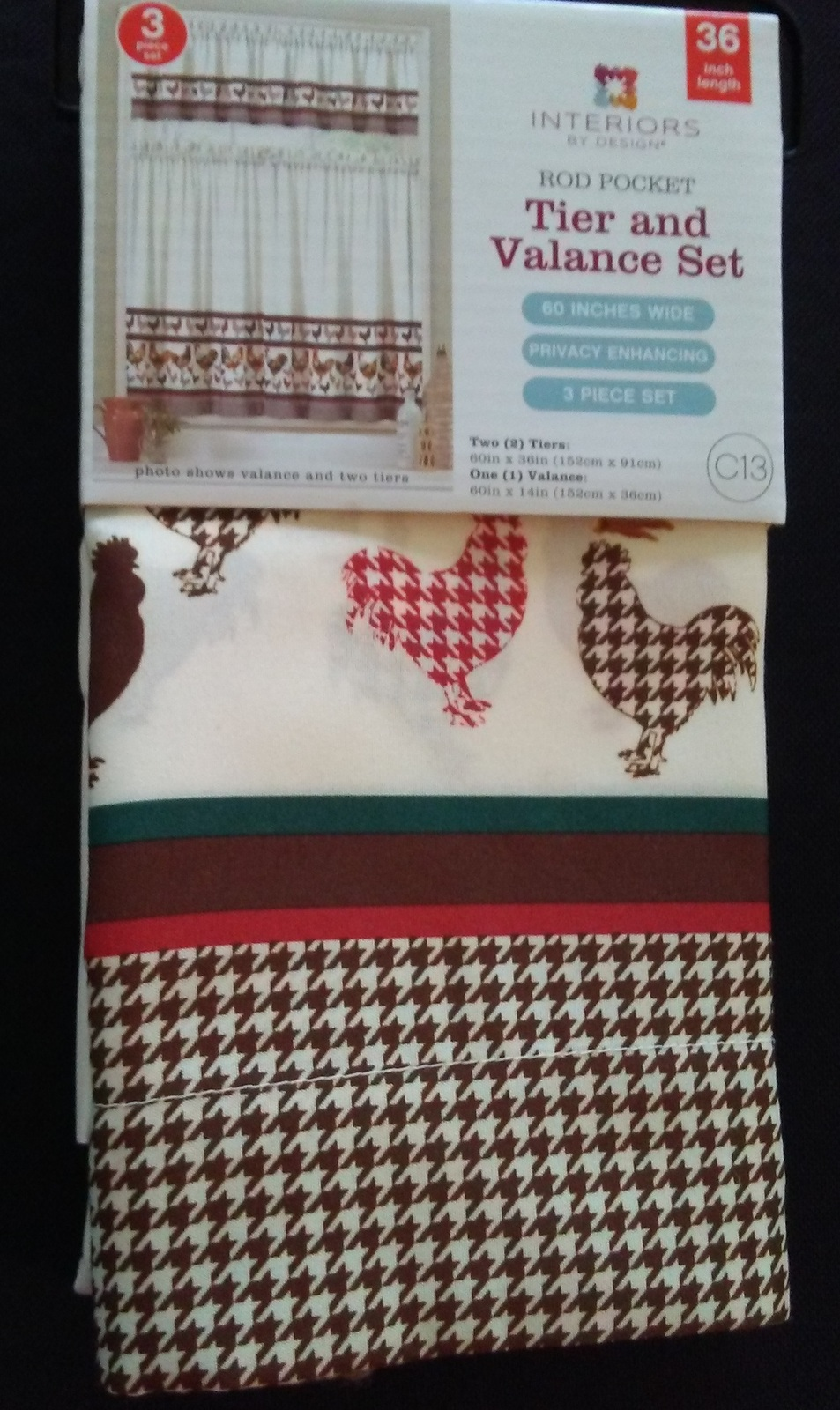 ROOSTER CURTAIN SET Two Tier and Valance French Country Kitchen Houndstooth NEW
