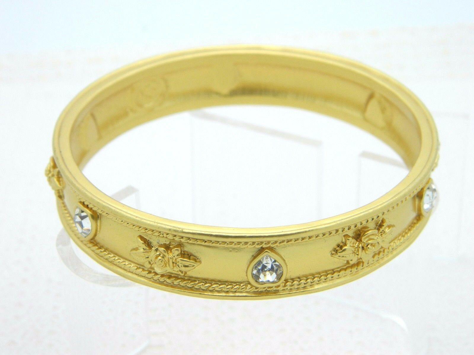 Elizabeth Taylor Avon LOVE BLOOMS Roses & Hearts 22K GP Vintage Bangle Bracelet image 2