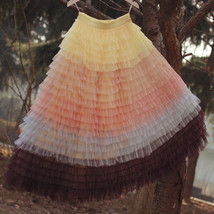 Women Maxi Tiered Tulle Skirt Outfit Plus Size Pink Blue Romantic Party Outfit image 10