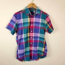 J CREW Mens Plaid Indian Cotton Short Sleeve Shirt Small S - $14.99