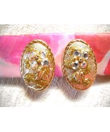 NWOT AB CRYSTAL STUDDED TEXTURED GOLD TONE METAL OVAL HUGGIE CLIP-ON EAR... - $12.00