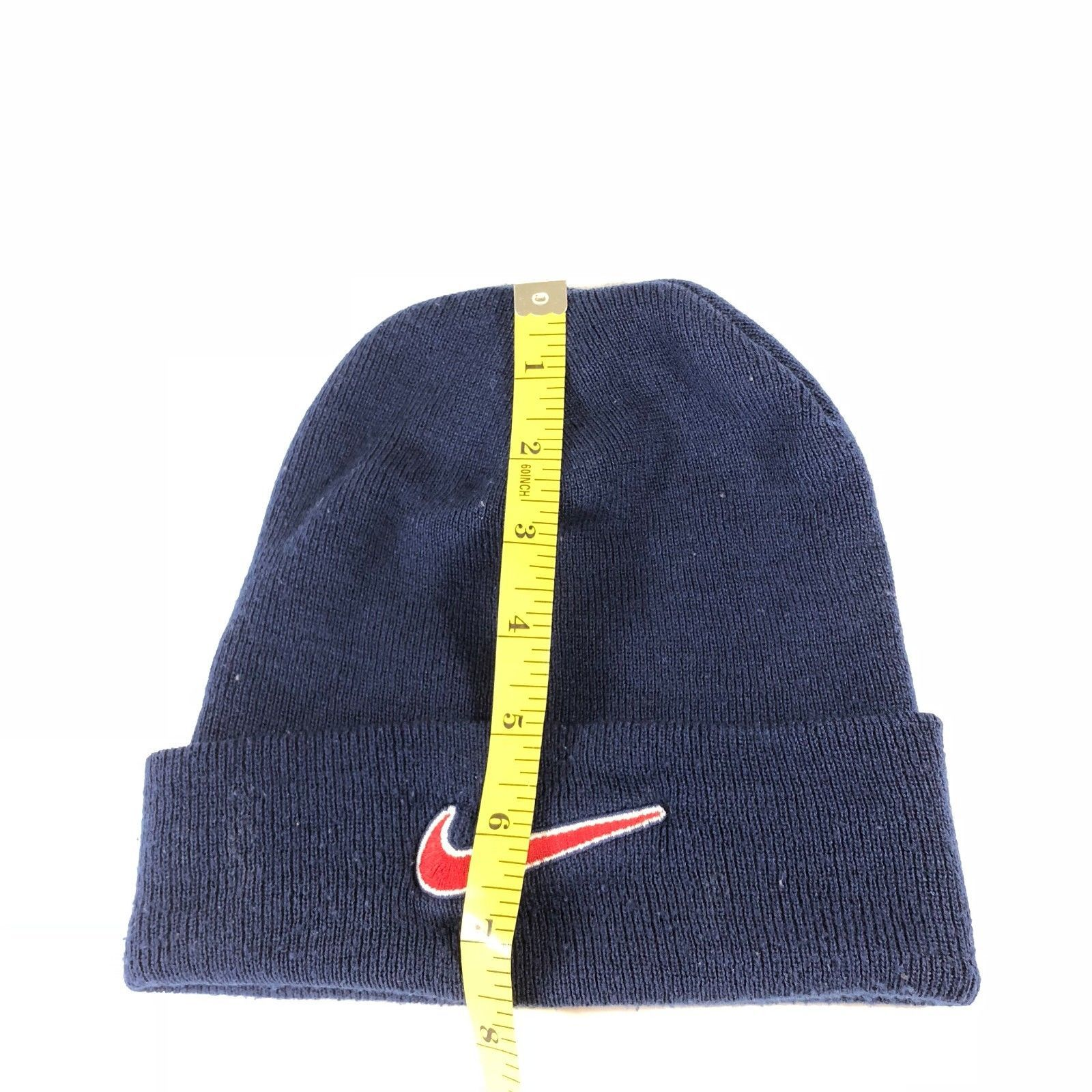 ... Vintage 90s Nike Beanie Hat Knit Cap Navy Blue Men Women One Size Adult  Swoosh ...
