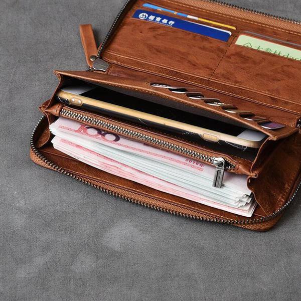 On Sale, Full Grain Leather Long Wallet, Handmade Card Holder Wallet, Long Clutc image 5
