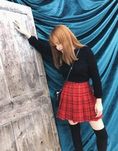 Wool-blend Red Plaid Skirt Women Girl Winter Plaid Skirt Outfit Plus Size Pleat image 1