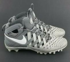Nike Huarache V5 LAX Lacrosse Football Cleats White Cool Grey 807142-010 Sz 10  - $28.49