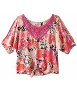 Candies Girls 7-16 Coral Garden Floral Sequin Cold Shoulder Blouse Top M... - $19.99