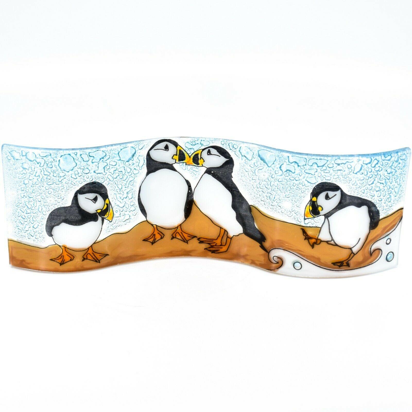 Fused Art Glass Puffin Birds Wavy Suncatcher Sun Catcher Handmade in Ecuador