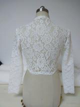 Women Retro Square Neck Lace Shirt Button Down Wedding Bridal Lace Crop Shirts image 2