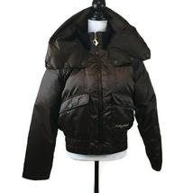 Baby Phat Women's Coat Size Large Brown Bomber Puffer Warm Nylon Blend  - $30.96