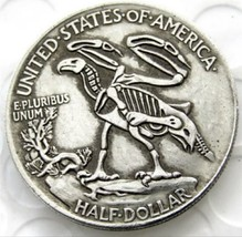 New Hobo Nickel 1916 Half Dollar Skull Skeleton Eagle Casted Coin - $11.39