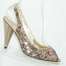 Nina Raffi gold sequin snake print peep toe elastic slingback heels 8M 38 - $32.37