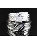 Round Sim Diamond Engagement Bridal Wedding Ring Trio Set .20 Ct Silver 925 - $99.99