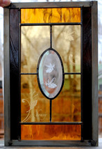 Stained Glass Window - Two Honey Bees Butterfly Flourish Panel - $79.00